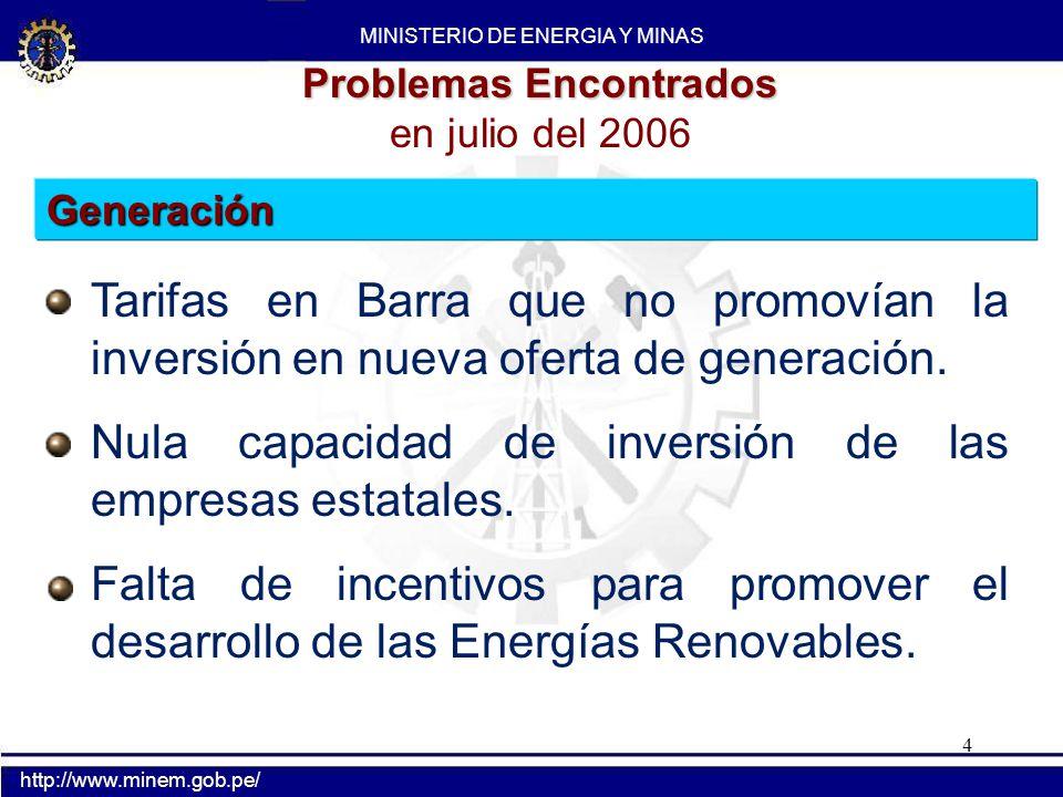 4 Problemas Encontrados en julio del 2006 Tarifas en Barra que no promovían la inversión en nueva oferta de generación. Nula capacidad de inversión de