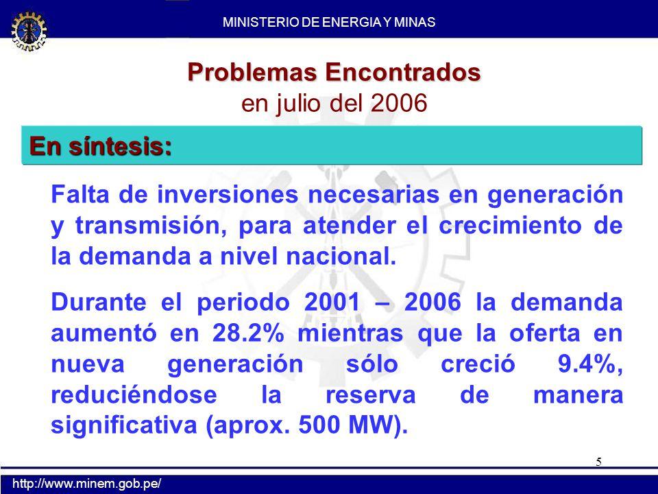 5 Problemas Encontrados en julio del 2006 Falta de inversiones necesarias en generación y transmisión, para atender el crecimiento de la demanda a niv