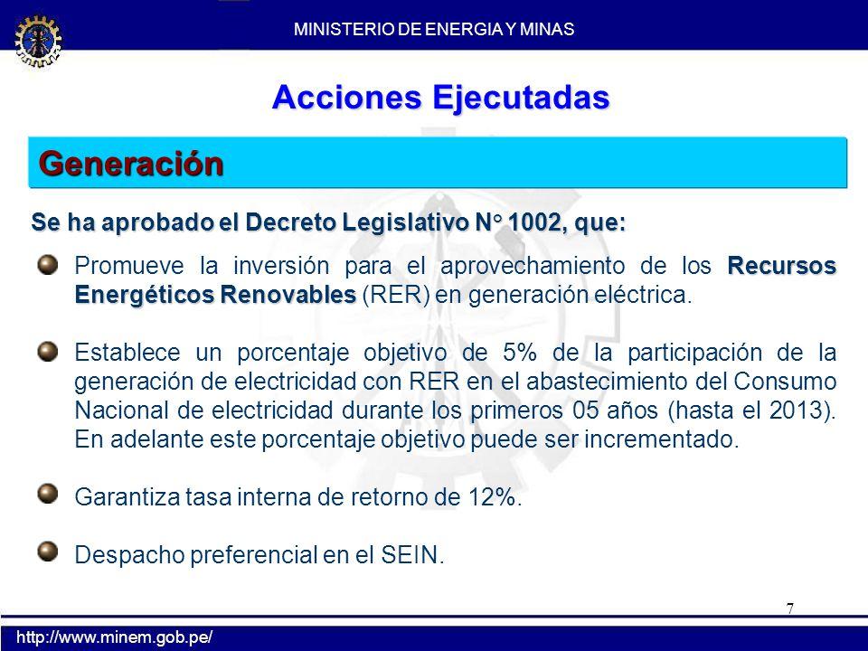 7 Generación Recursos Energéticos Renovables Promueve la inversión para el aprovechamiento de los Recursos Energéticos Renovables (RER) en generación
