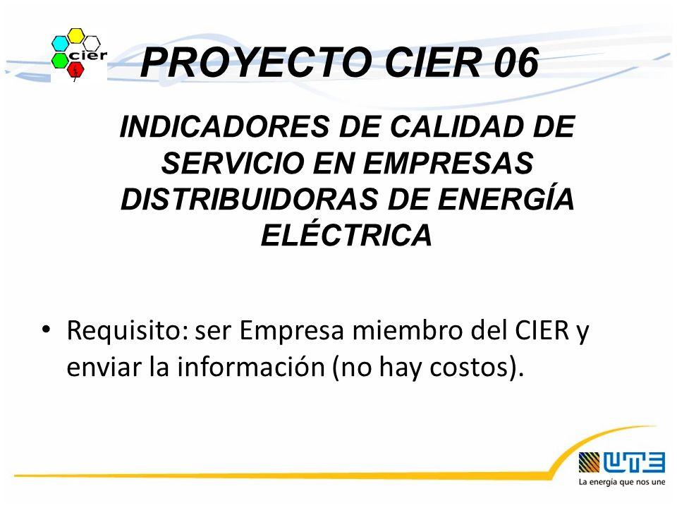 PROYECTO CIER 06 Requisito: ser Empresa miembro del CIER y enviar la información (no hay costos). INDICADORES DE CALIDAD DE SERVICIO EN EMPRESAS DISTR