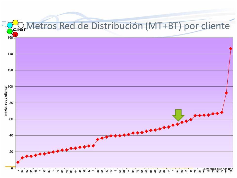 Metros Red de Distribución (MT+BT) por cliente