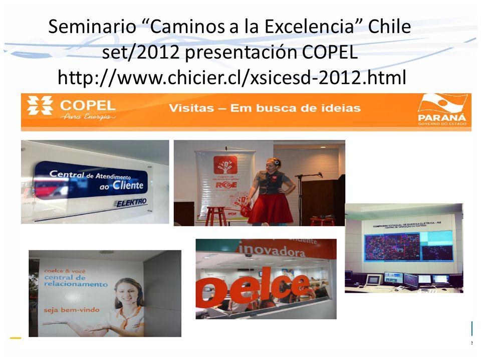 Seminario Caminos a la Excelencia Chile set/2012 presentación COPEL http://www.chicier.cl/xsicesd-2012.html