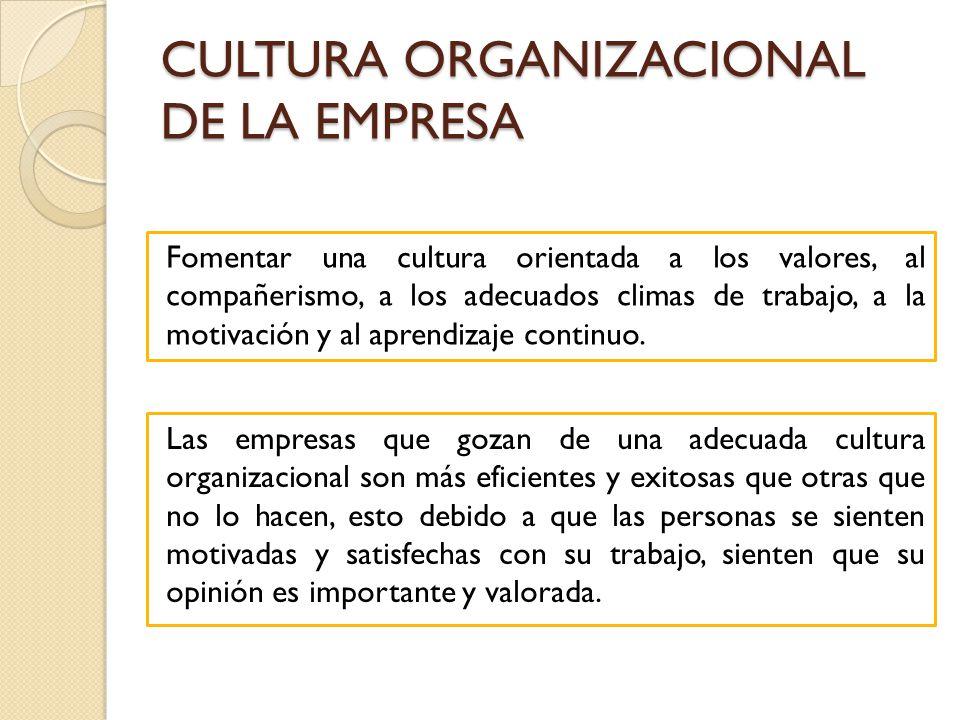 CULTURA ORGANIZACIONAL DE LA EMPRESA Las empresas que gozan de una adecuada cultura organizacional son más eficientes y exitosas que otras que no lo h