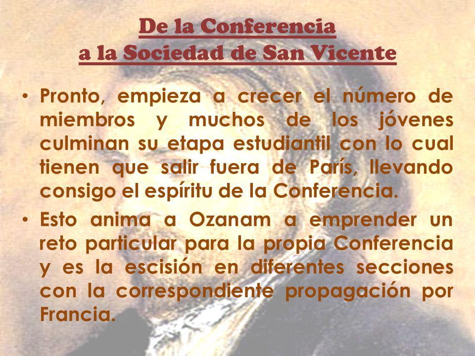 De la Conferencia a la Sociedad de San Vicente Pronto, empieza a crecer el número de miembros y muchos de los jóvenes culminan su etapa estudiantil co