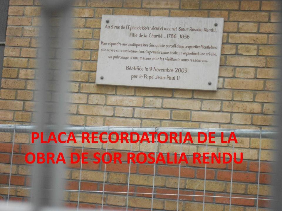 PLACA RECORDATORIA DE LA OBRA DE SOR ROSALIA RENDU