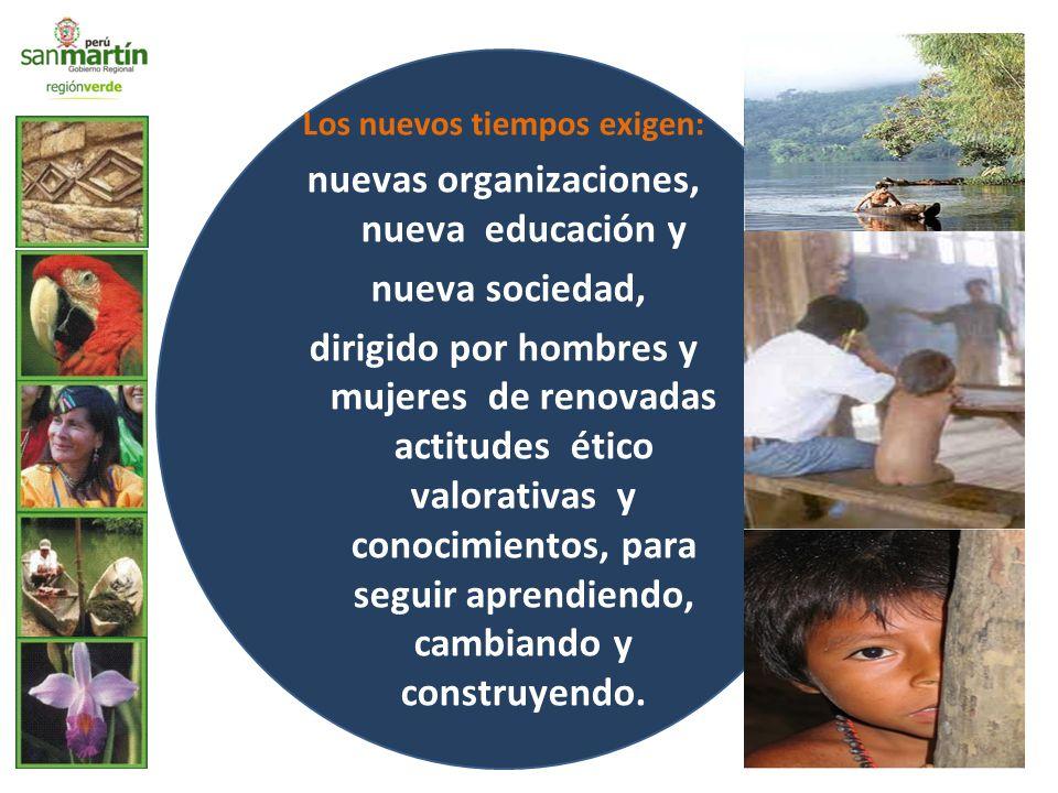Los nuevos tiempos exigen: nuevas organizaciones, nueva educación y nueva sociedad, dirigido por hombres y mujeres de renovadas actitudes ético valorativas y conocimientos, para seguir aprendiendo, cambiando y construyendo.