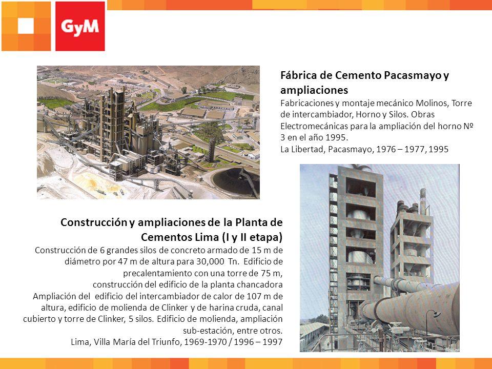 Construcción y ampliaciones de la Planta de Cementos Lima (I y II etapa) Construcción de 6 grandes silos de concreto armado de 15 m de diámetro por 47