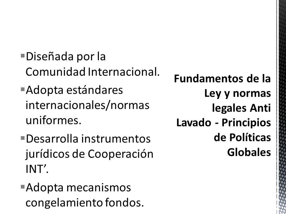 ENTIDADES Y ORGANISMOS DISENADORES DE POLITICA GLOBAL CONTRA LAVADO DE DINERO Grupo de Acción Financiera Int. GAFI - Comité de Basilea - Grupo Egmont