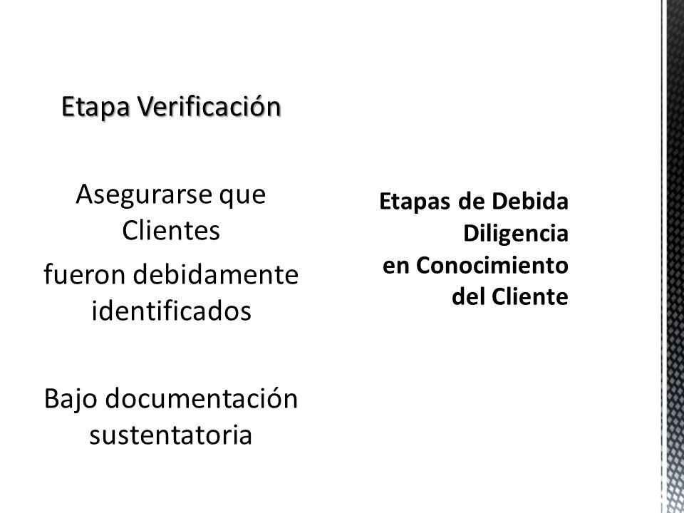 Etapa Identificación Obtención de Información Necesaria para Determinar Identidad del Cliente y Beneficiario Final