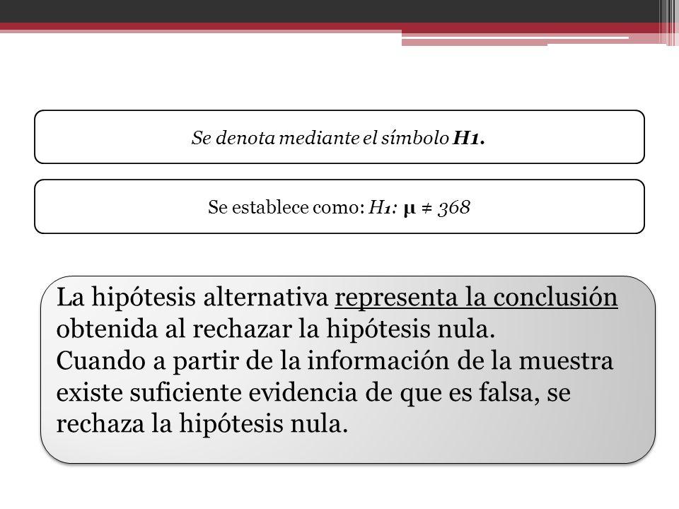 Se denota mediante el símbolo H1. Se establece como: H 1 : μ 368 La hipótesis alternativa representa la conclusión obtenida al rechazar la hipótesis n