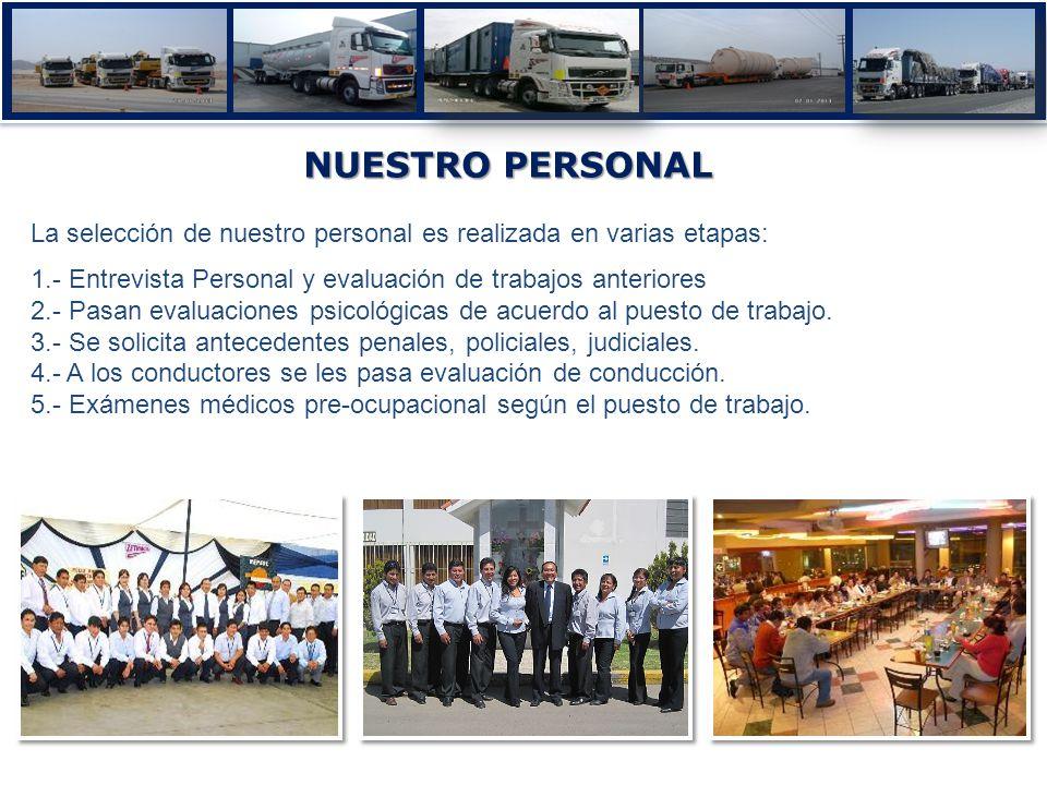 NUESTRO PERSONAL La selección de nuestro personal es realizada en varias etapas: 1.- Entrevista Personal y evaluación de trabajos anteriores 2.- Pasan