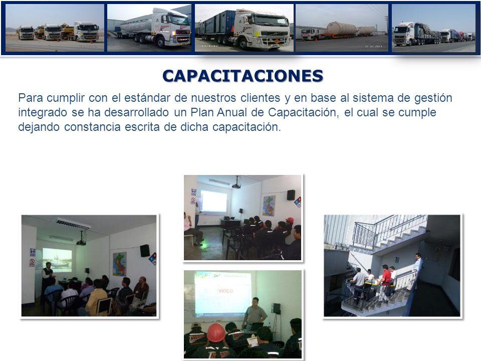 CAPACITACIONES Para cumplir con el estándar de nuestros clientes y en base al sistema de gestión integrado se ha desarrollado un Plan Anual de Capacit