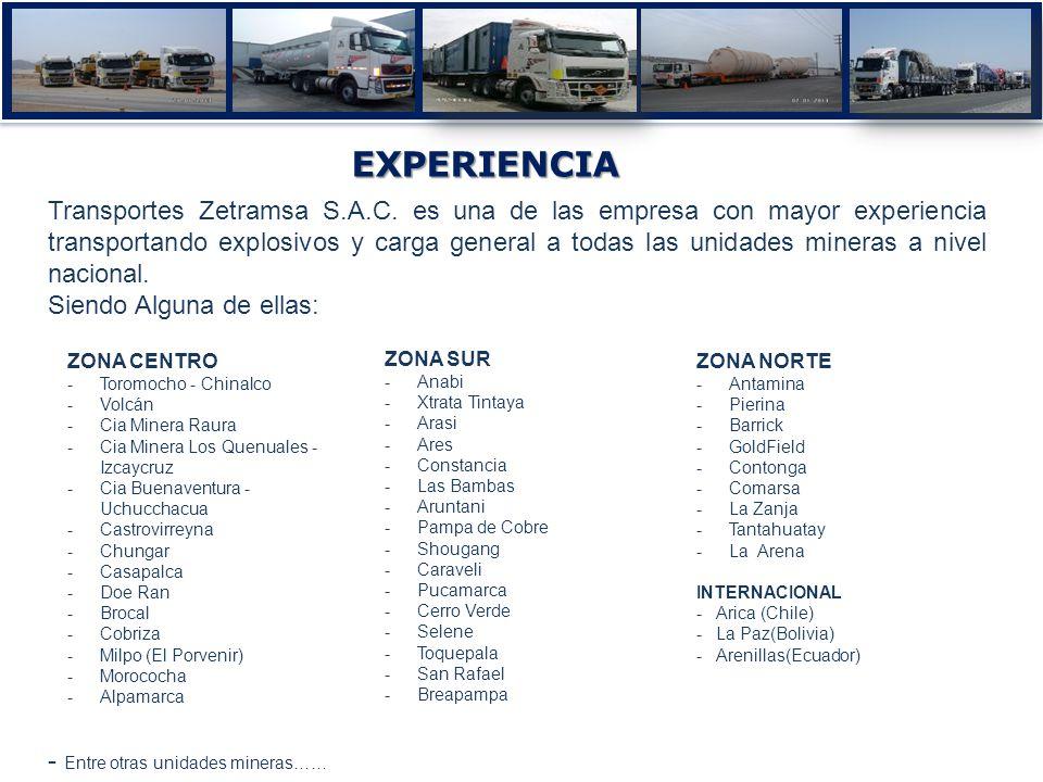 Transportes Zetramsa S.A.C. es una de las empresa con mayor experiencia transportando explosivos y carga general a todas las unidades mineras a nivel
