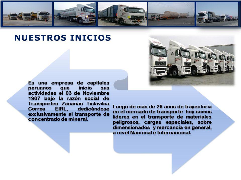 NUESTROS INICIOSNUESTROS INICIOS Es una empresa de capitales peruanos que inicio sus actividades el 03 de Noviembre 1987 bajo la razón social de Trans