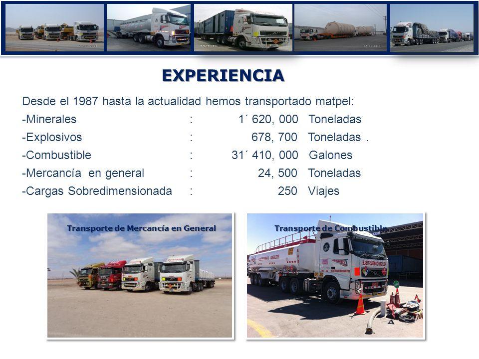 Transporte de Combustible Transporte de Mercancía en General EXPERIENCIA Desde el 1987 hasta la actualidad hemos transportado matpel: -Minerales: 1´ 620, 000 Toneladas -Explosivos : 678, 700 Toneladas.
