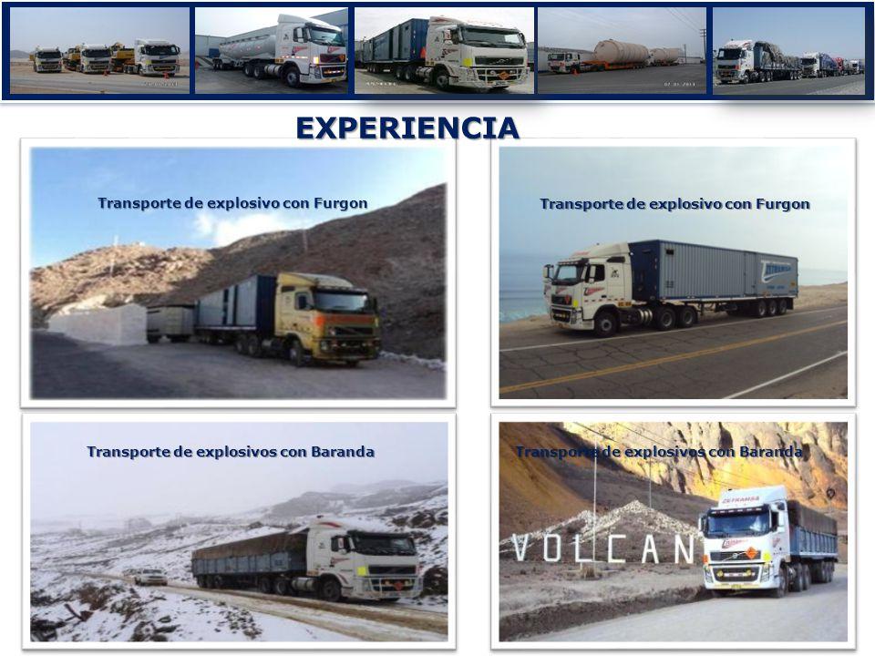 EXPERIENCIA Transporte de tuberías a Arasi Transporte de Emulsiòn Matriz Transporte de explosivo con Furgon Transporte de explosivos con Baranda