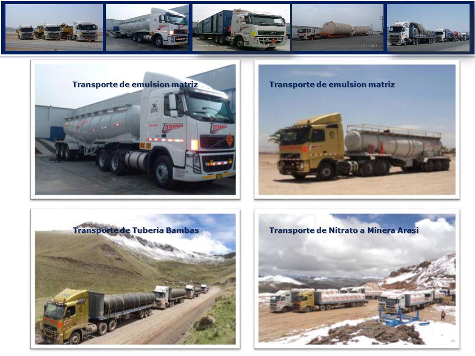Transporte de Nitrato a Minera Arasi Transporte de emulsion matriz Transporte de Tuberia Bambas