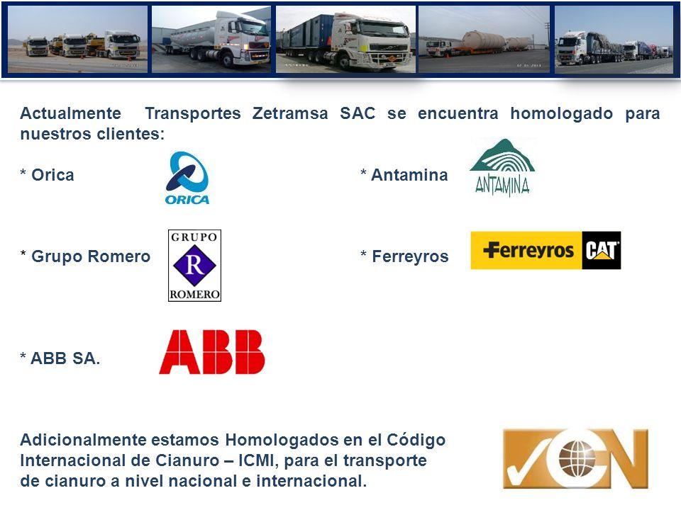 Actualmente Transportes Zetramsa SAC se encuentra homologado para nuestros clientes: * Orica * Antamina * Grupo Romero* Ferreyros * ABB SA. Adicionalm