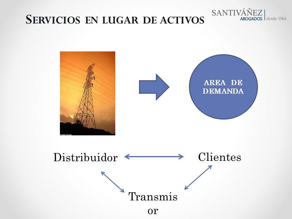 Distribuidor S ERVICIOS EN LUGAR DE ACTIVOS Clientes AREA DE DEMANDA Transmis or