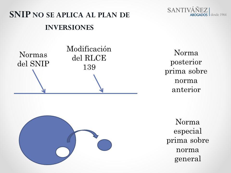 Normas del SNIP SNIP NO SE APLICA AL PLAN DE INVERSIONES Modificación del RLCE 139 Norma posterior prima sobre norma anterior Norma especial prima sob