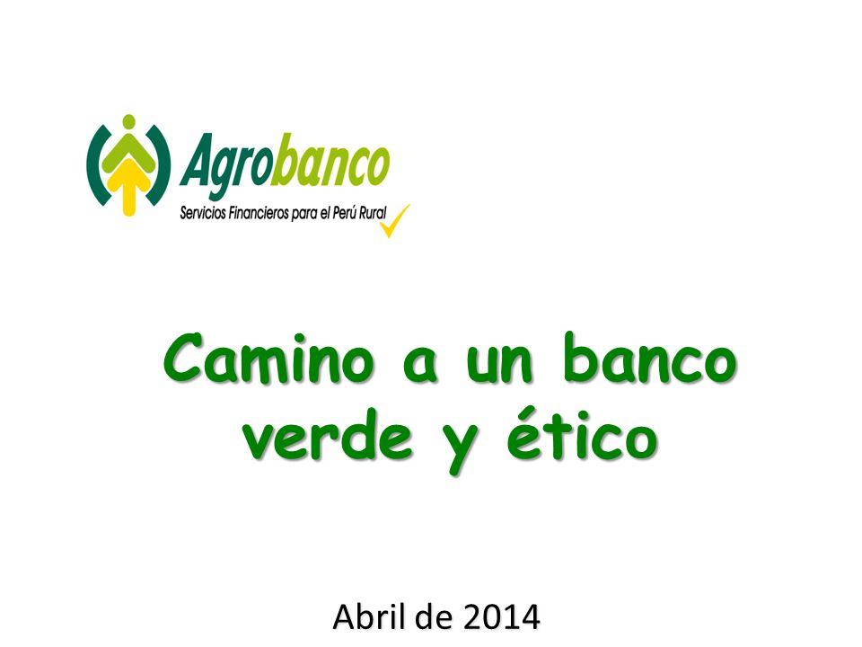 Abril de 2014 Camino a un banco verde y étic o
