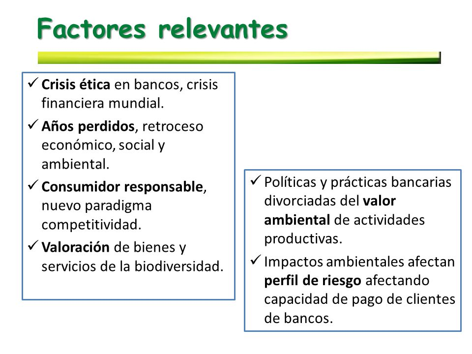 Factores relevantes Crisis ética en bancos, crisis financiera mundial.