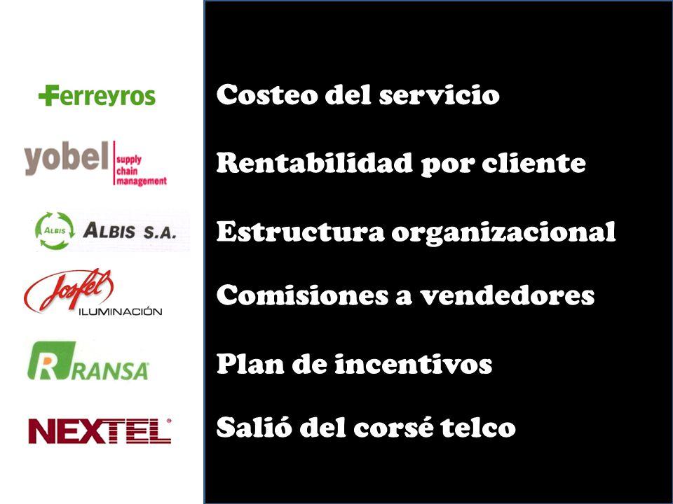 Costeo del servicio Rentabilidad por cliente Estructura organizacionalComisiones a vendedores Plan de incentivos Salió del corsé telco