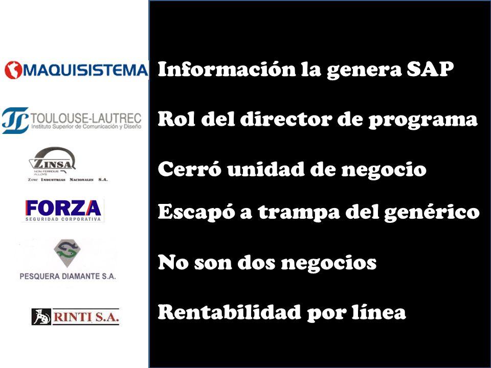 Información la genera SAP Rol del director de programa Escapó a trampa del genérico No son dos negocios Rentabilidad por línea Cerró unidad de negocio