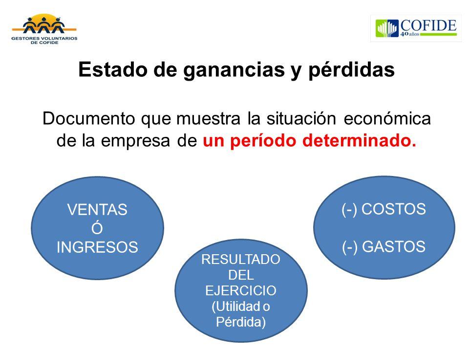 Estado de ganancias y pérdidas Documento que muestra la situación económica de la empresa de un período determinado. VENTAS Ó INGRESOS (-) COSTOS (-)