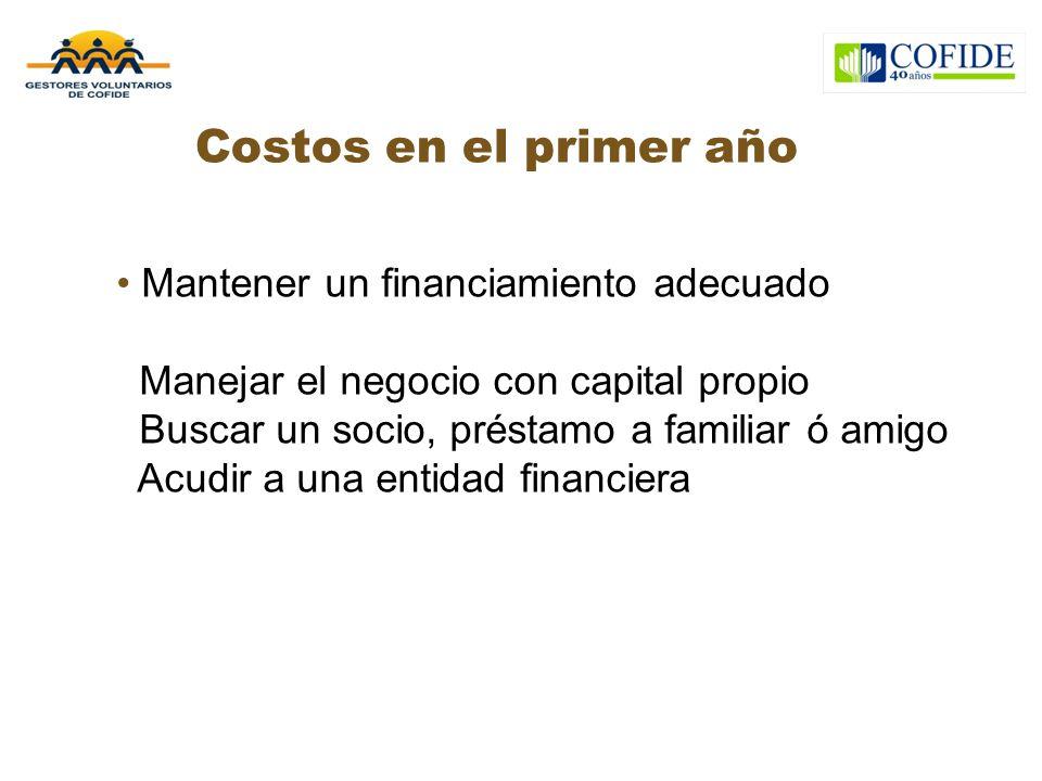 Costos en el primer año Mantener un financiamiento adecuado Manejar el negocio con capital propio Buscar un socio, préstamo a familiar ó amigo Acudir