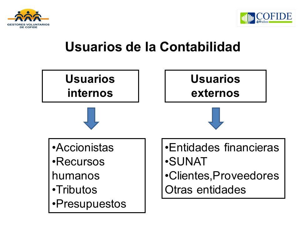 Usuarios de la Contabilidad Usuarios internos Accionistas Recursos humanos Tributos Presupuestos Usuarios externos Entidades financieras SUNAT Cliente