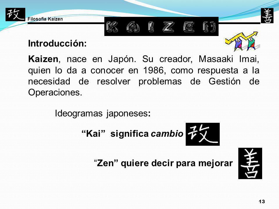 13 Introducción: Kaizen, nace en Japón. Su creador, Masaaki Imai, quien lo da a conocer en 1986, como respuesta a la necesidad de resolver problemas d