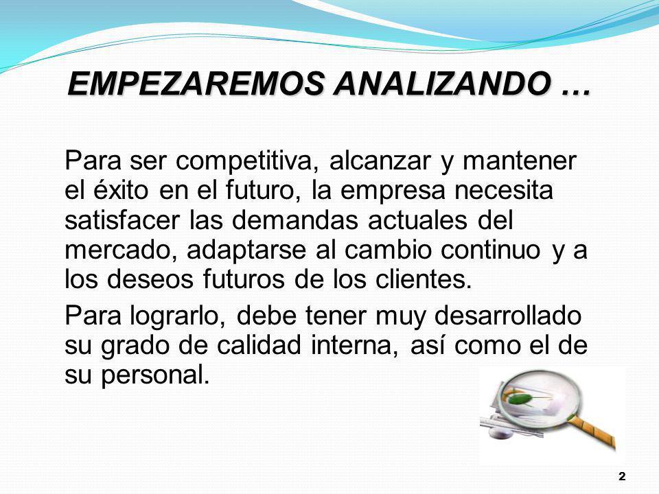 2 EMPEZAREMOS ANALIZANDO … Para ser competitiva, alcanzar y mantener el éxito en el futuro, la empresa necesita satisfacer las demandas actuales del m