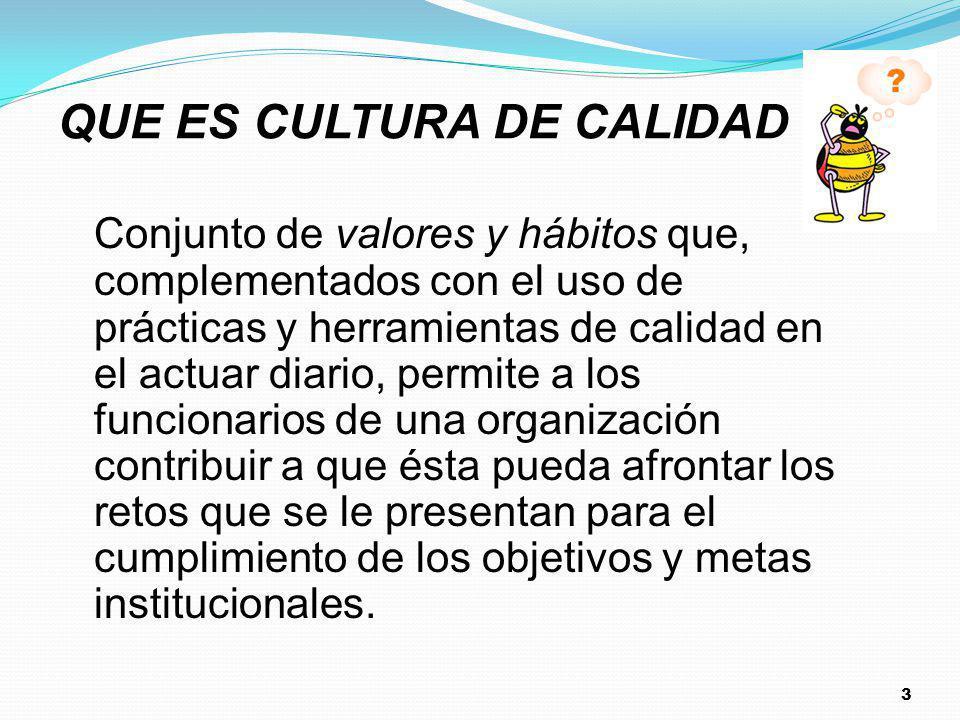3 QUE ES CULTURA DE CALIDAD ? Conjunto de valores y hábitos que, complementados con el uso de prácticas y herramientas de calidad en el actuar diario,
