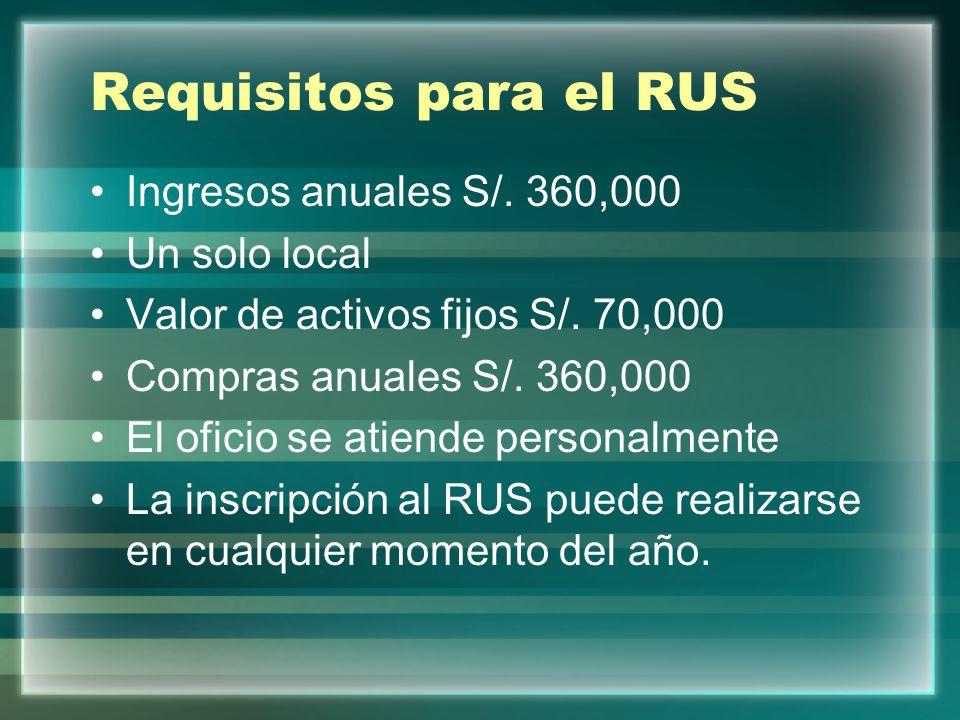 Requisitos para el RUS Ingresos anuales S/. 360,000 Un solo local Valor de activos fijos S/. 70,000 Compras anuales S/. 360,000 El oficio se atiende p
