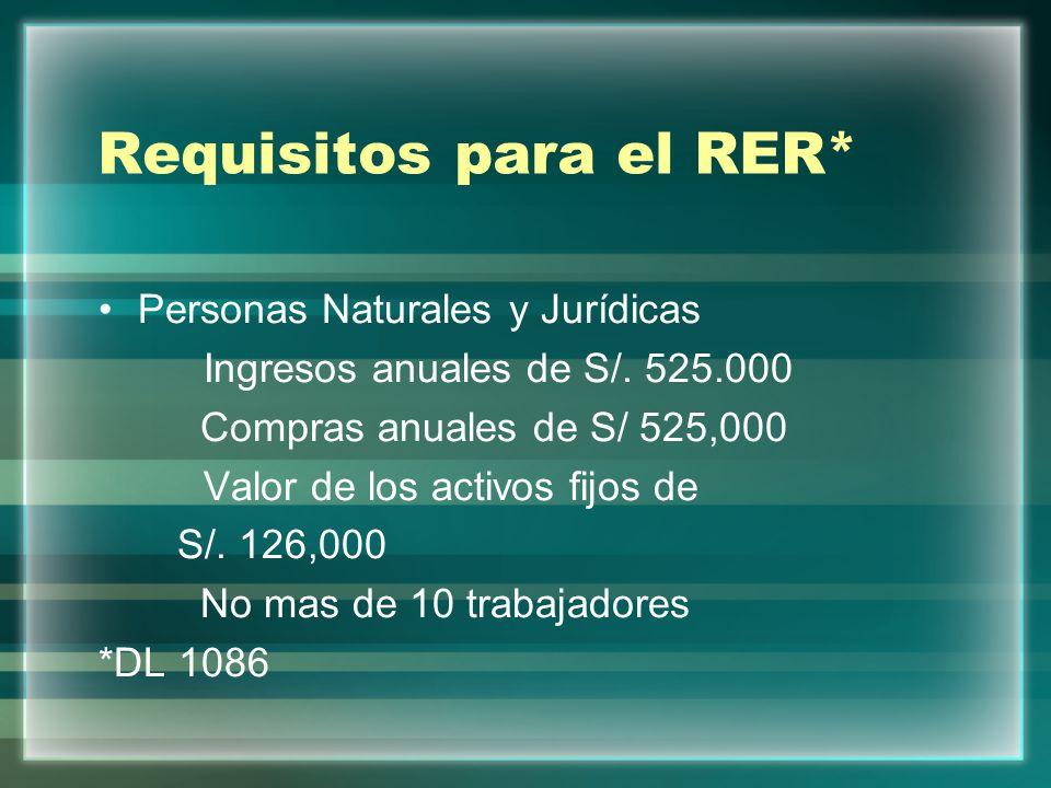 Requisitos para el RER* Personas Naturales y Jurídicas Ingresos anuales de S/. 525.000 Compras anuales de S/ 525,000 Valor de los activos fijos de S/.