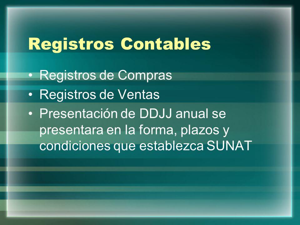 Registros Contables Registros de Compras Registros de Ventas Presentación de DDJJ anual se presentara en la forma, plazos y condiciones que establezca