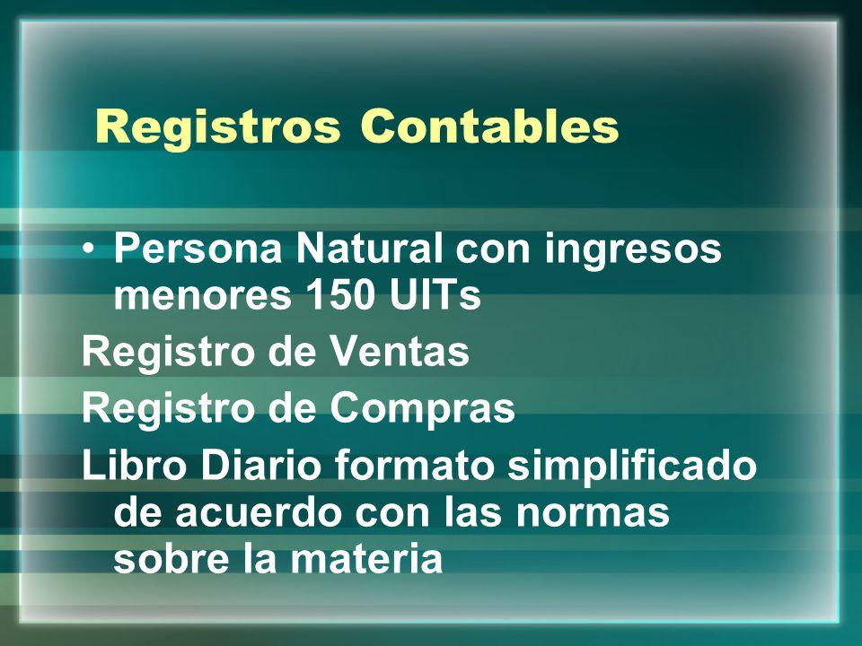 Registros Contables Persona Natural con ingresos menores 150 UITs Registro de Ventas Registro de Compras Libro Diario formato simplificado de acuerdo