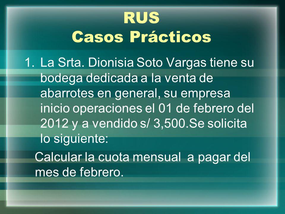 RUS Casos Prácticos 1.La Srta. Dionisia Soto Vargas tiene su bodega dedicada a la venta de abarrotes en general, su empresa inicio operaciones el 01 d
