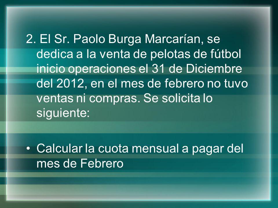 2. El Sr. Paolo Burga Marcarían, se dedica a la venta de pelotas de fútbol inicio operaciones el 31 de Diciembre del 2012, en el mes de febrero no tuv