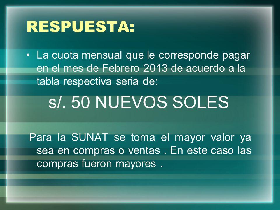 RESPUESTA: La cuota mensual que le corresponde pagar en el mes de Febrero 2013 de acuerdo a la tabla respectiva seria de: s/. 50 NUEVOS SOLES Para la