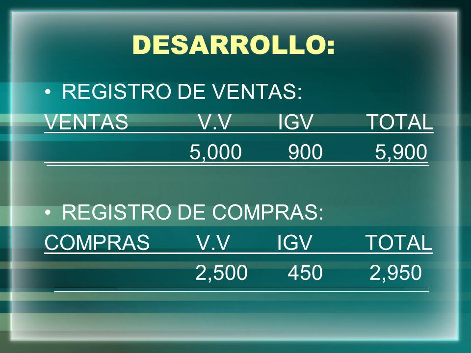 DESARROLLO: REGISTRO DE VENTAS: VENTAS V.V IGV TOTAL 5,000 900 5,900 REGISTRO DE COMPRAS: COMPRAS V.V IGV TOTAL 2,500 450 2,950