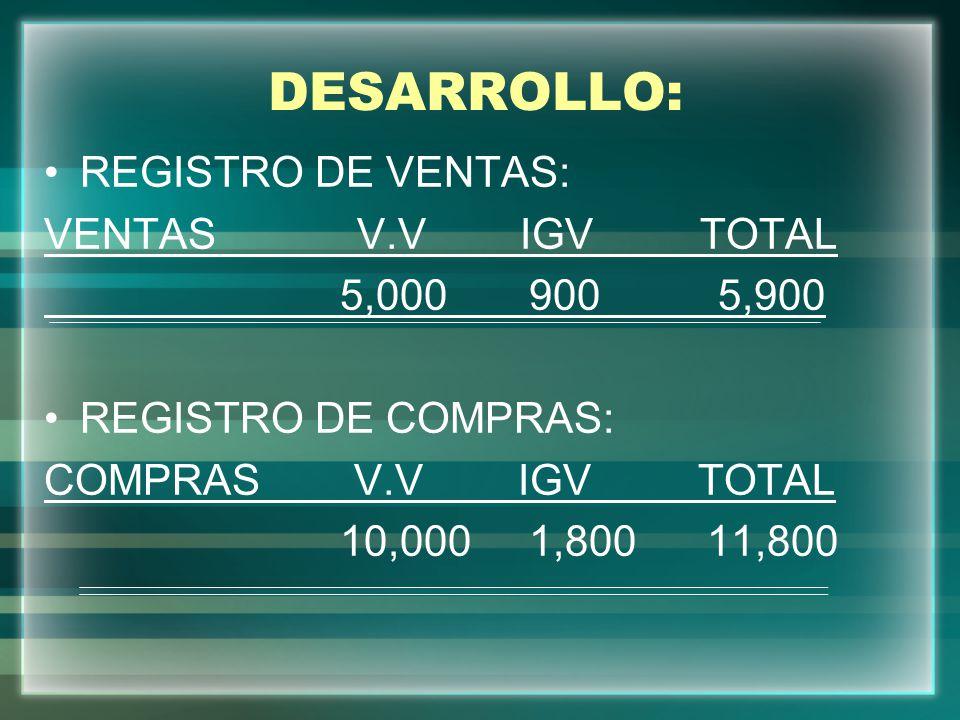 DESARROLLO: REGISTRO DE VENTAS: VENTAS V.V IGV TOTAL 5,000 900 5,900 REGISTRO DE COMPRAS: COMPRAS V.V IGV TOTAL 10,000 1,800 11,800