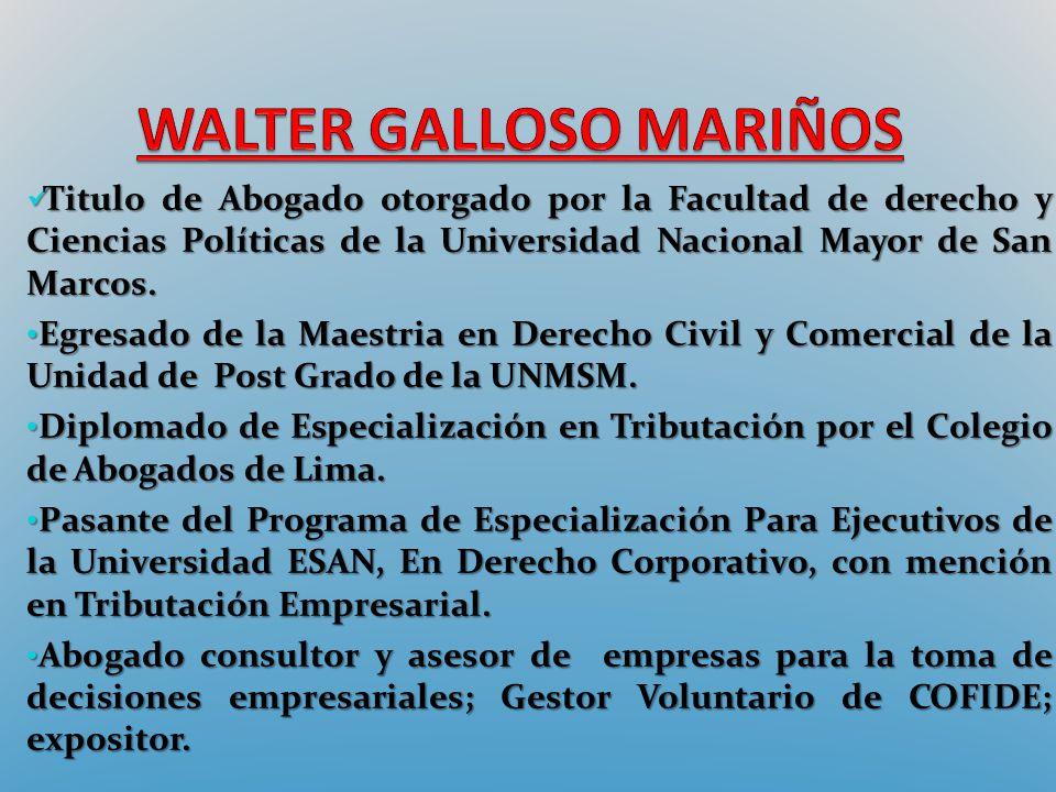 Titulo de Abogado otorgado por la Facultad de derecho y Ciencias Políticas de la Universidad Nacional Mayor de San Marcos. Titulo de Abogado otorgado