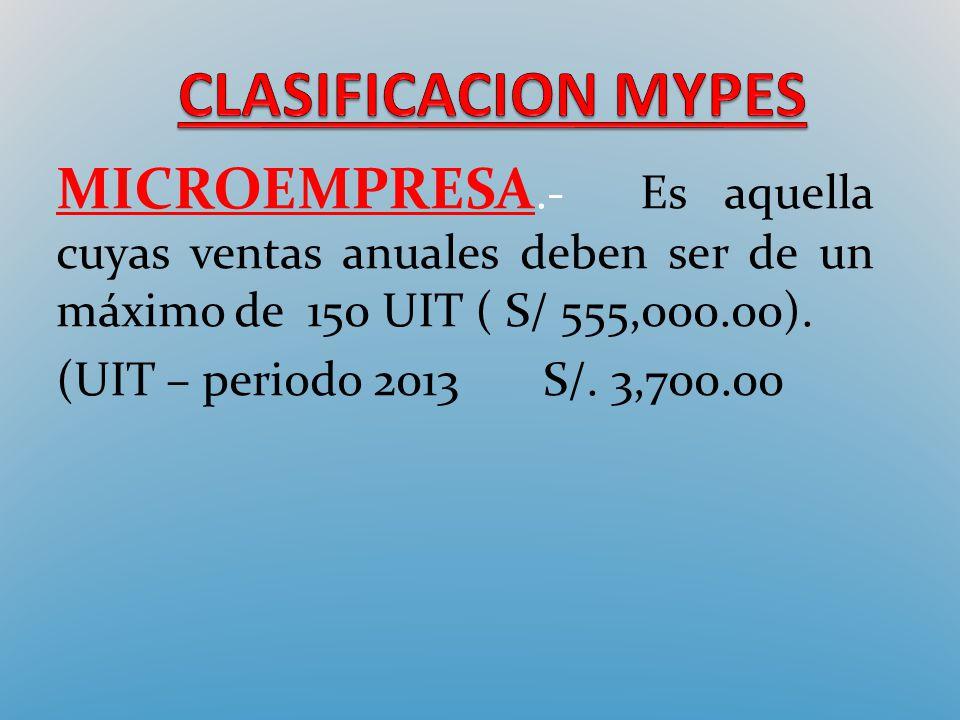 MICROEMPRESA.- Es aquella cuyas ventas anuales deben ser de un máximo de 150 UIT ( S/ 555,000.00). (UIT – periodo 2013 S/. 3,700.00