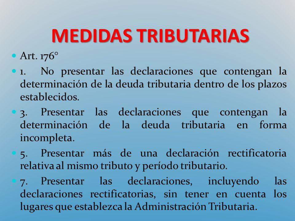 MEDIDAS TRIBUTARIAS Art. 176° 1.No presentar las declaraciones que contengan la determinación de la deuda tributaria dentro de los plazos establecidos