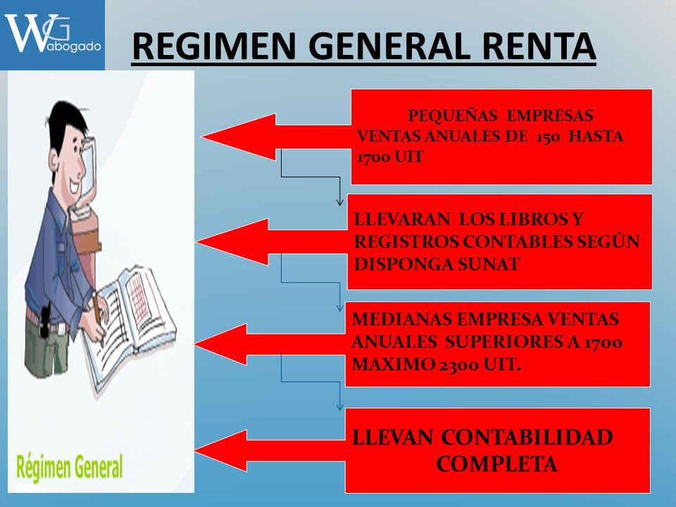 REGIMEN GENERAL RENTA PEQUEÑAS EMPRESAS VENTAS ANUALES DE 150 HASTA 1700 UIT LLEVARAN LOS LIBROS Y REGISTROS CONTABLES SEGÚN DISPONGA SUNAT MEDIANAS E