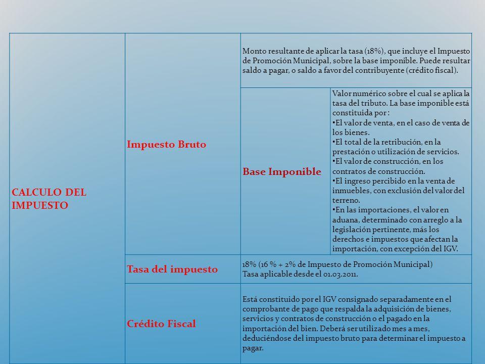 CALCULO DEL IMPUESTO Impuesto Bruto Monto resultante de aplicar la tasa (18%), que incluye el Impuesto de Promoción Municipal, sobre la base imponible