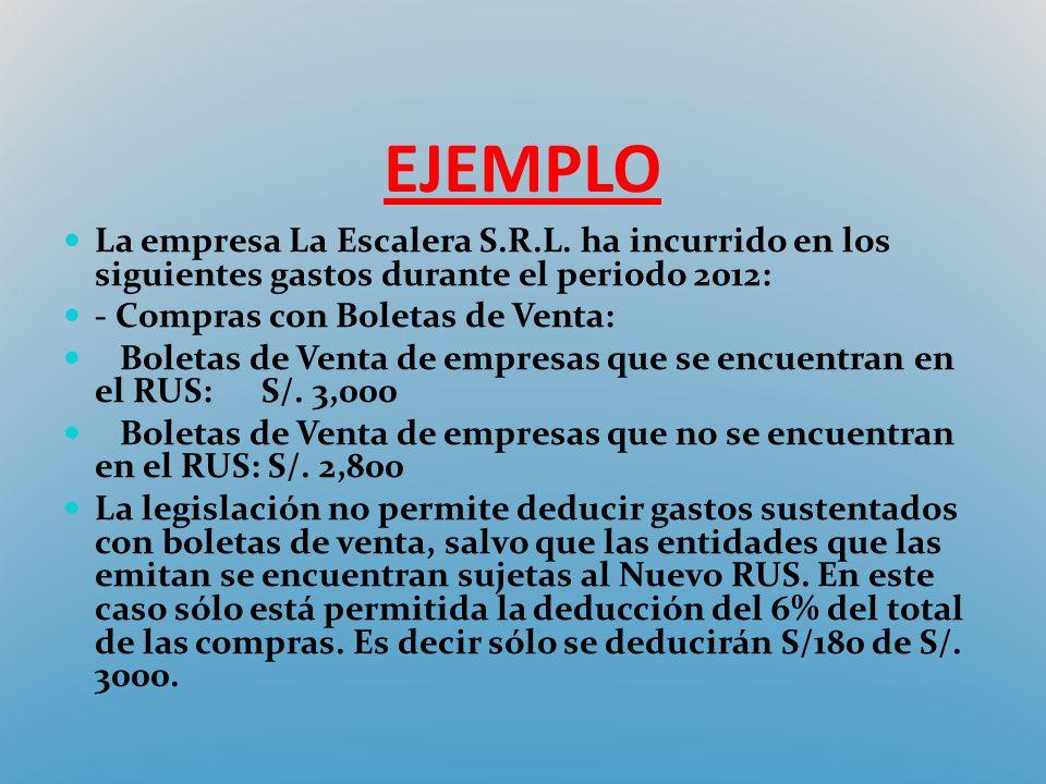 EJEMPLO La empresa La Escalera S.R.L. ha incurrido en los siguientes gastos durante el periodo 2012: - Compras con Boletas de Venta: Boletas de Venta