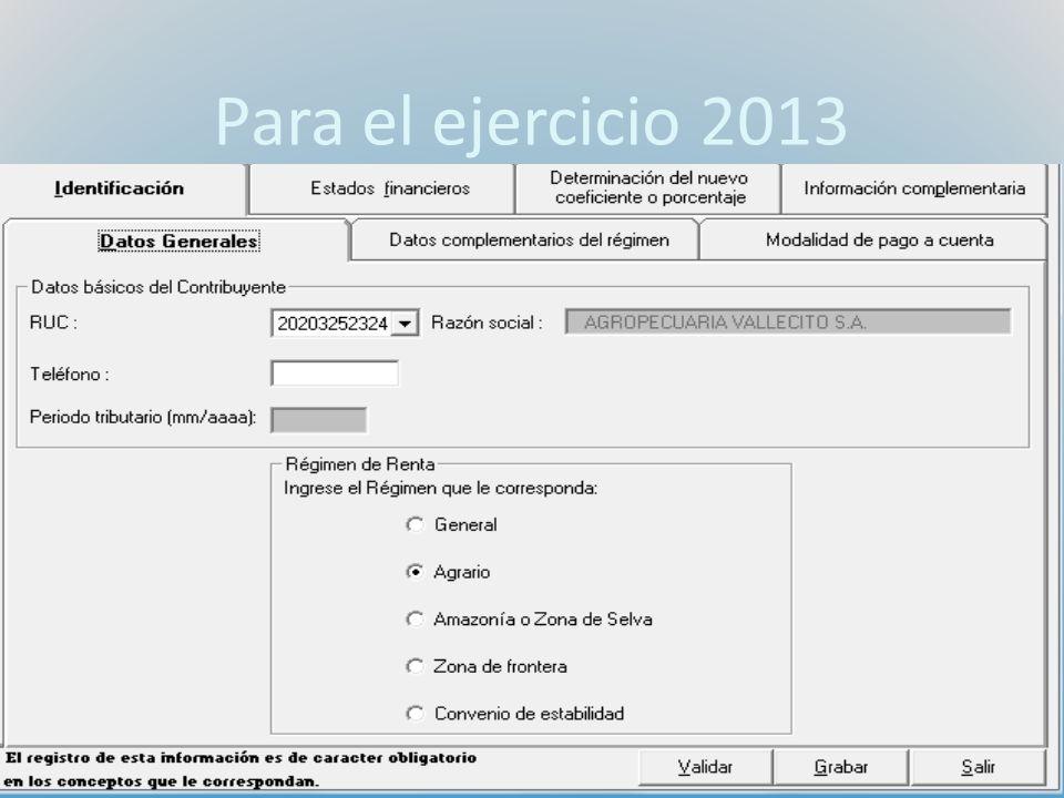 Para el ejercicio 2013